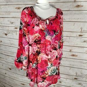 Anthropologie Vanessa Virginia Silk floral tunic
